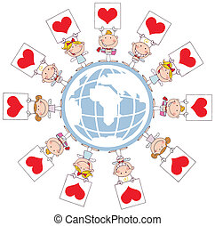Stick Cupids Holding Heart Signs