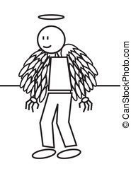 Stick figure angel - illustration of an angel with wings....