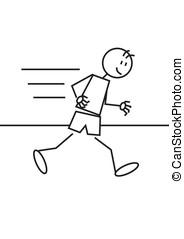 Stick figure athletics - Stick figure of a boy running....