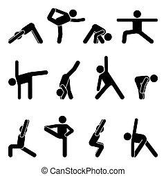Stick figure basic yoga position set