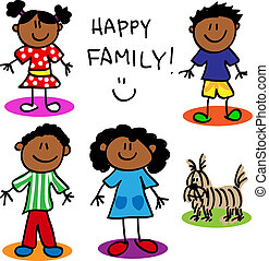 Fun stick figure cartoon black, family, father, mother, little girl, little boy and dog.