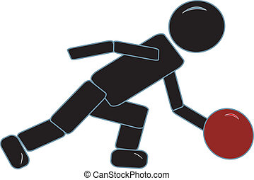 Stick Figure Bowling - simple drawing of a simple stick...