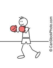 Stick figure boxing - Stick figure of a boy boxing. Sports...