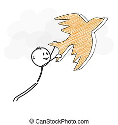Stick Figure Cartoon - Stickman Flying with a Bird Icon.