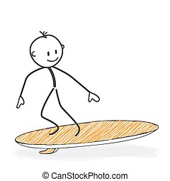 Stick Figure Cartoon - Stickman On a Surfboard Icon.