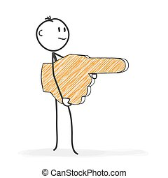 Stick Figure Cartoon - Stickman Shows the Direction with a Hand Icon - Forefinger.