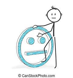 Stick Figure Cartoon - Stickman with a Neutral Smiley Icon.