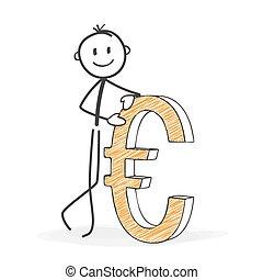 Stick Figure Cartoon - Stickman with a Euro Icon.