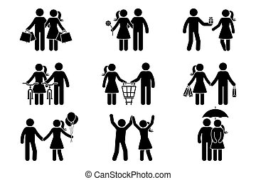Stick figure couple man, woman, male, female, boy, girl, guy, lady spending time together. Shopping, dating, giving present, riding bike, standing with balloons, dancing, hiding under umbrella icon vector pictogram