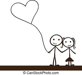 simple stick figure with heart balloon background