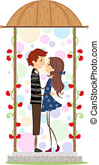 Stick Figure Couple - Illustration of a Couple Holding Each...