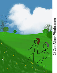 stick figure couple holding hands and walking uphill with heart shaped cloud in sky