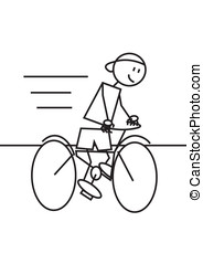 stick figure cycling - Stick figure of a boy mounted in a...