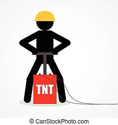 Stick figure detonating a TNT