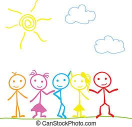 stick figure doodle outdoor background - little stick figure...