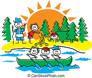 Stick figure family camping, hiking and having fun in a canoe in the summer.