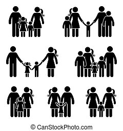 Stick figure family icon set