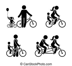 Stick figure family riding bicycle pictogram