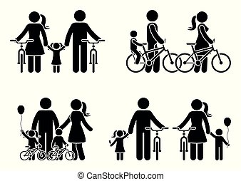 Stick figure family with bike pictogram
