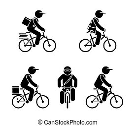 Stick figure fast delivery service guy on bicycle