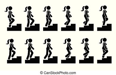 Stick figure female on stairs icon set