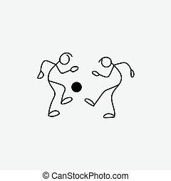 Stick figure footballers icon vector