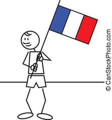 Stick figure france flag - illustration of a boy with a flag...