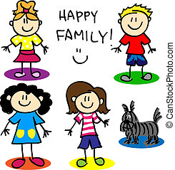 Fun stick figure cartoon lesbian or gai family with, two mothers, little girl, little boy and dog.