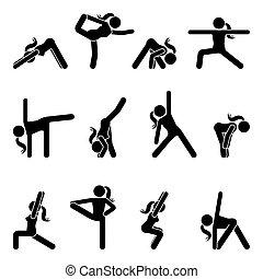Stick figure girl basic yoga position set