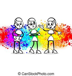 Stick figure gossip. Beautiful hand drawn vector sketch. Colorful scene for social media and print decoration.