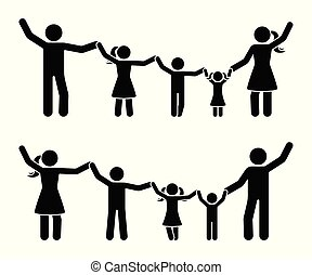 Stick figure hands up happy family icon set