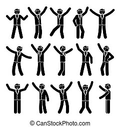 Stick figure happiness, celebration, motion businessman set