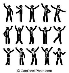 Stick figure happiness, freedom, motion businessman set