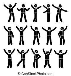 Stick figure happiness, winner, motion businessman set
