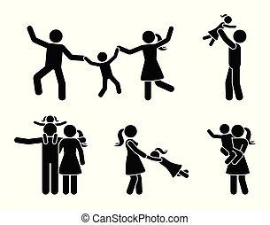 Stick figure happy family having fun icon set