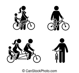 Stick figure happy family riding bike pictogram