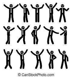 Stick figure happy, funny, motion businessman set
