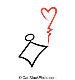 Stick figure kid holding heart shaped balloon