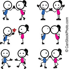 stick figure lovers with different pose