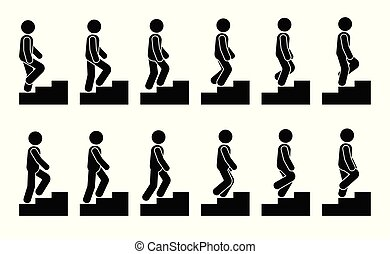 Stick figure male on stairs icon set