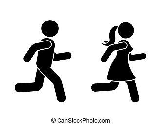 Stick figure man and woman running icon vector pictogram. Boy and girl competition sign silhouette