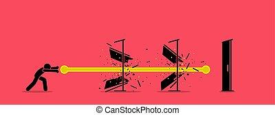 Stick figure man destroying all door with an energy fireball power.