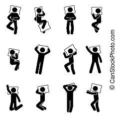 Stick figure man sleeping icon set