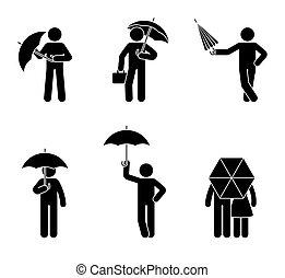 Stick figure man with umbrella icon set