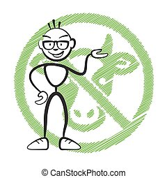 Stick figure no meat symbol, Stickman vector drawing on...