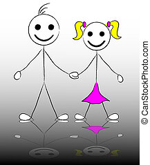 stick figure of happy boy and girl