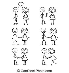 Stick Figure of men and womenl in motion