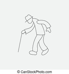 Stick figure old man walking vector