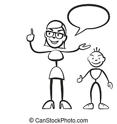 Stick figure persona woman with child and speech bubble, ...
