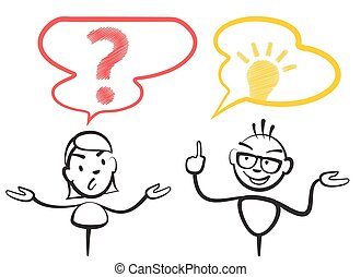 Stick figure question mark and idea, Stickman vector drawing on white background
